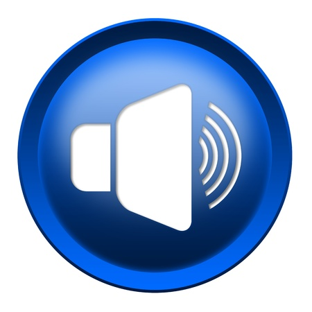 Loud speaker button isolated over white background photo