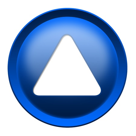Blue button with white triangle turned up isolated over white background