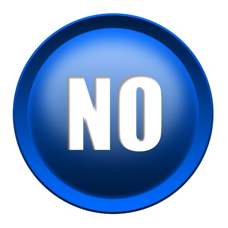 repeal: Blue NO button isolated over white background Stock Photo