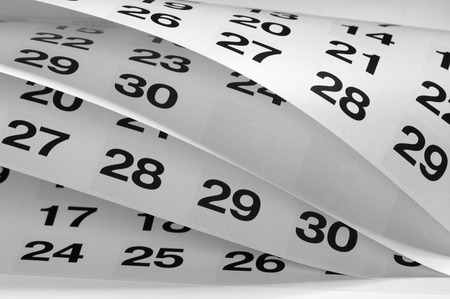 calendario: Perspectiva de fragmento de calendario disparó con áreas borrosas parciales