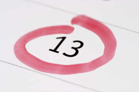 Friday the 13th calendar with red mark Stock Photo
