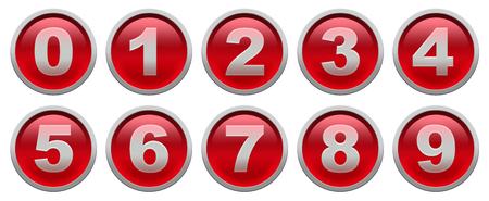 Rode glanzende knopen met witte cijfers geïsoleerd op witte achtergrond set Stockfoto