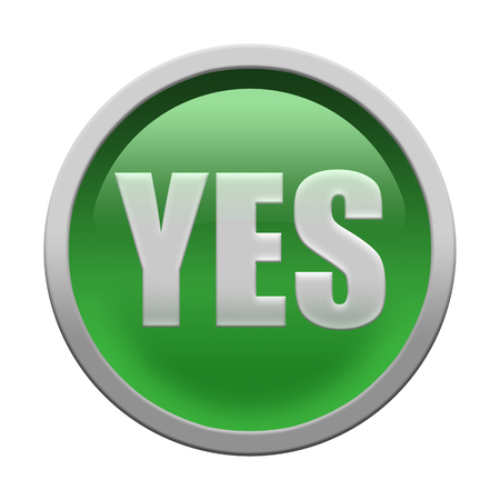 yes button: Glossy round YES button isolated over white background Stock Photo