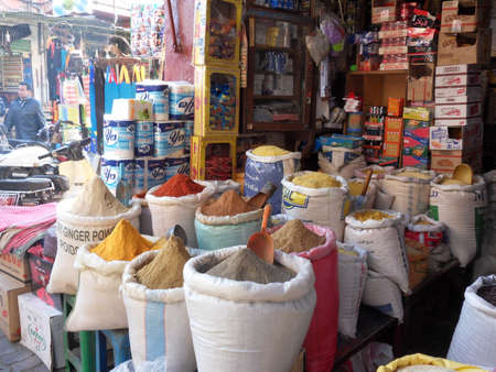 marocco: Medina Spice Souk of Marrakesh Marocco Editorial