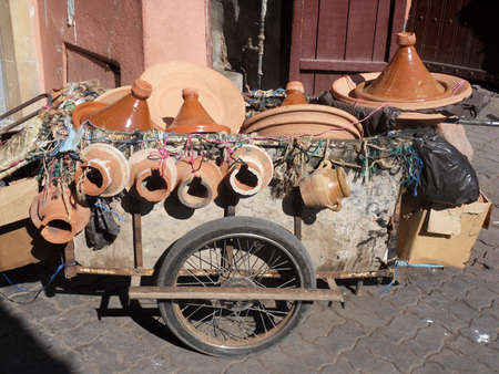 marocco: Pottery Trailer Marrakesh Marocco Stock Photo