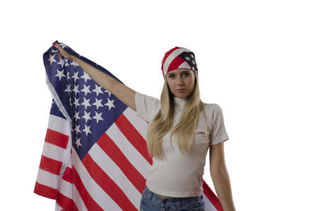 girl holding American flag and wearing bandana isolated in white photo