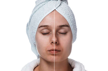 woman with closed eyes before and after makeup and retouch isolated on white background Reklamní fotografie