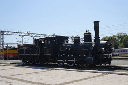 Zagreb, Croatia - Circa 2013: Steam engine locomotive exhibit on Zagreb main train station