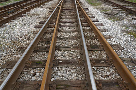 railroad tracks: multiple railroad tracks going off in the distance