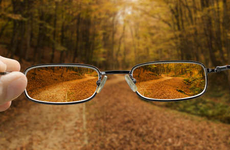 shortsighted: seeing forest path in autumn through glasses that improve vision