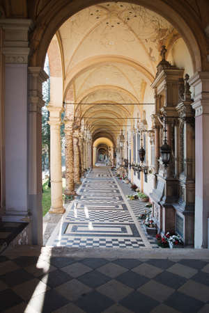 arcades: Zagreb, Croatia - Circa 2017: Arcades at the Mirogoj cemetery in Zagreb, Croatia. Mirogoj is a vastly famous cemetery where many famous people are buried. Editorial