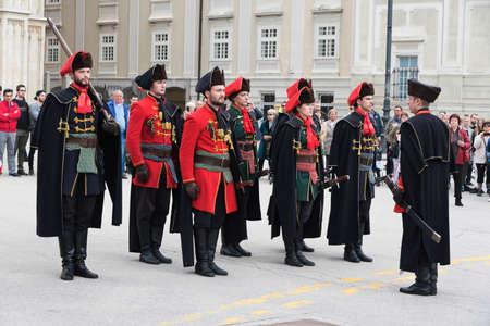 Zagreb, Croatia – April 2017: Honor guard in Upper Town Zagreb, Croatia. Called the Cravat regiment they reenact the guard patrolling the streets of Zagreb.
