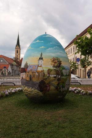 giant easter egg: Zagreb, Croatia – April 2017: Giant Easter Egg in Upper Town Zagreb, Croatia