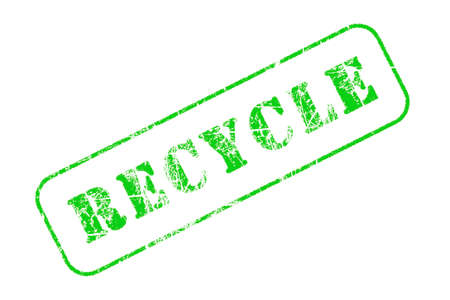 green worn out recycle text stamp on a white background Stock Photo