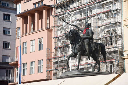 Zagreb, Croatia – October 15th 2017: Monument of ban Josip Jelacic in the central square in Zagreb, Croatia. Statue is decorated with necktie in honor of Necktie Day in Croatia. Croatia is known for invention of Necktie. Days of Necktie is celebrated fo Editorial