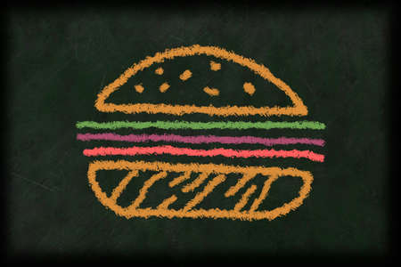illustration of a burger drawn with chalk on a chalkboard in different colors