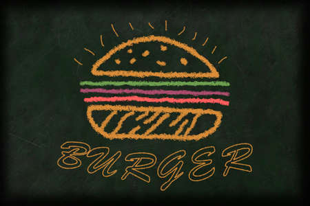 illustration of a burger drawn with chalk on a chalkboard in different colors with text beneath it