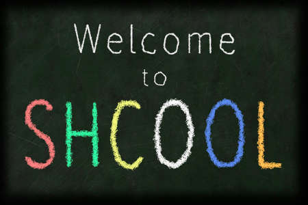 welcome to school spelled incorrectly with a chalk on a blackboard Reklamní fotografie