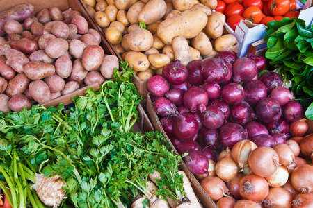 colorful organically grown vegetables in the market separated in boxes Reklamní fotografie
