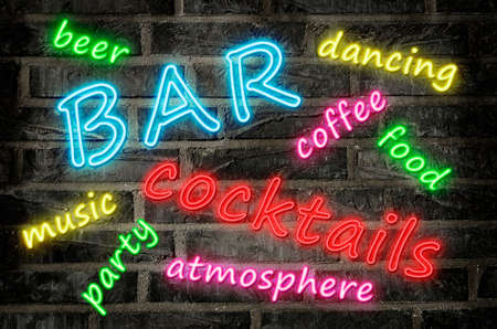 neon sign word cloud illustration with words in different colors describing a cocktail night bar Stock Photo