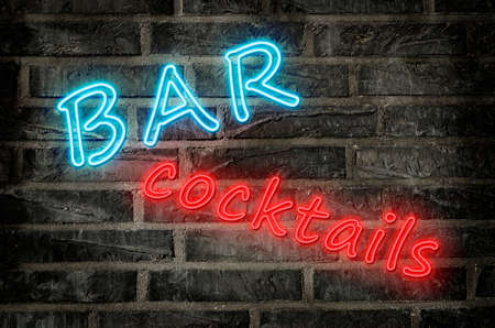 illustration of a cocktail bar neon sign glowing in blue and red colors