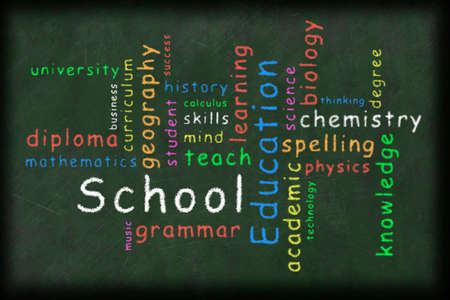 illustration of an education related words in different color written with a chalk on a green board Stock Photo