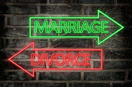 illustration of neon signs on a brick wall of an arrows with marriage and divorce text
