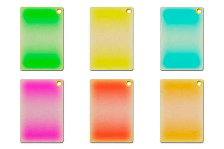 3D illustration of a blank cardboard tags in different colors isolated on a white background Stock Photo