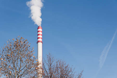 industrial chimney vaping toxic fumes in to the environment in front of a dried tree