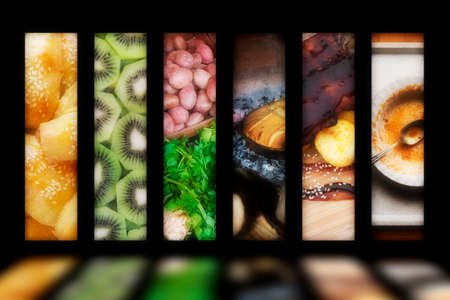 colorful glowing food produce window like advertisement on a black background Reklamní fotografie