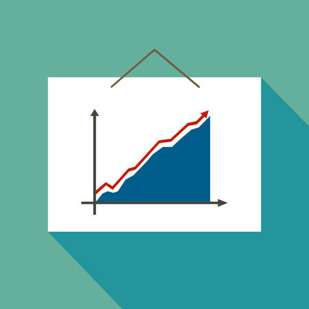 Graph Icon Vector on blue background. Invoice in graph.