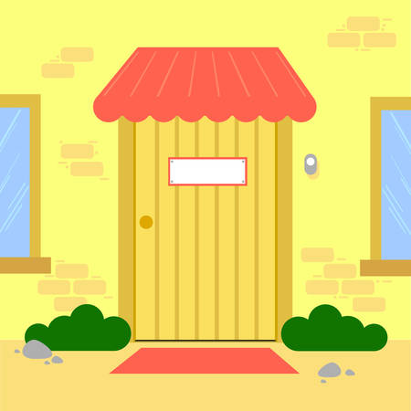 Pay phone and Fire extinguisher vector. free space for text. wallpaper. background. Exit door vector. Stock Illustratie