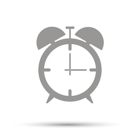 Alarm clock icon flat. Black pictogram on white background. Vector illustration symbol