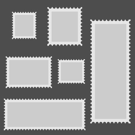 Six gray frames for photos are depicted on a gray background in chaotic order. Ilustração