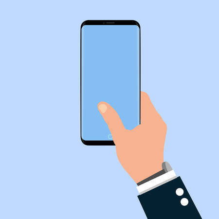 The hand hold phone on blue background and blue screen. Stock Illustratie