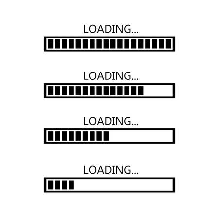 Four stages of loading on a white background.