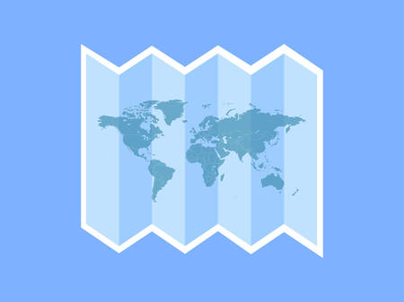 A white travel icon around the world is depicted on the blue background and the text and button on the left.