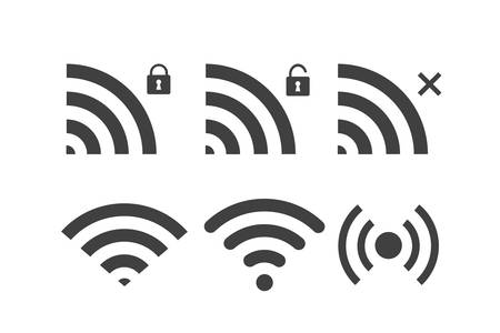 Six different characters of the wifi image on a white background.