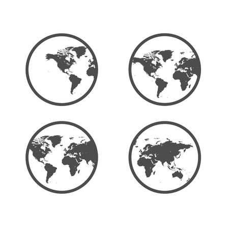 Four types of planet earth in different positions of black color image on a white background.