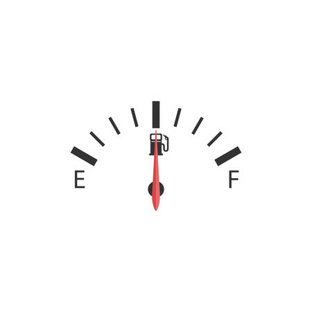 The cars fuel indicator shows half of the tank shown on a white background. Ilustrace