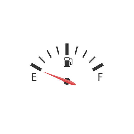 The car's fuel indicator shows an empty tank shown on a white background. 矢量图像