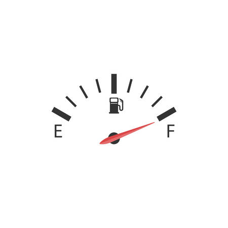 The cars fuel indicator shows on a full tank depicted on a white background. Ilustrace