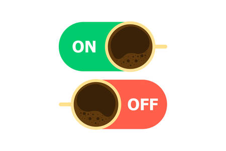 Two switches of coffee, one turns on coffee, the other turns off on a white background.