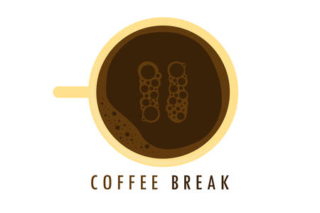 A coffee cup with a pause with a bubble on a coffee break is depicted on a white background. Ilustrace