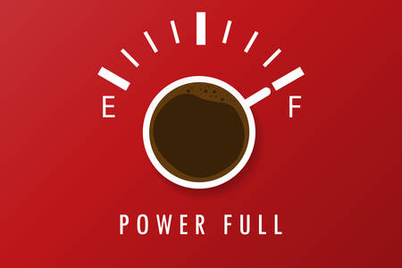 A cup of coffee that shows the full. Red background and text below.