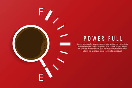 A cup of coffee that shows the full. Red background and text on the right.