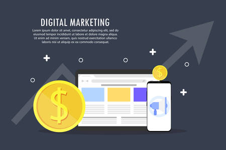 Digital marketing is depicted from several objects on a gray background.