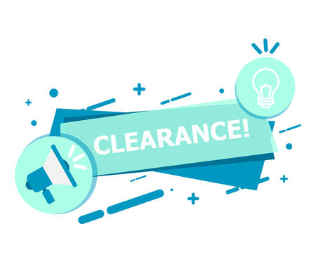 A banner of blue on a white background that says CLEARANCE.  イラスト・ベクター素材