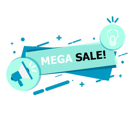 A banner of blue on a white background that says MEGA SALE.