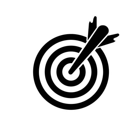 The black icon of the game where the arrow accurately fell into the center of the circle on a white background.